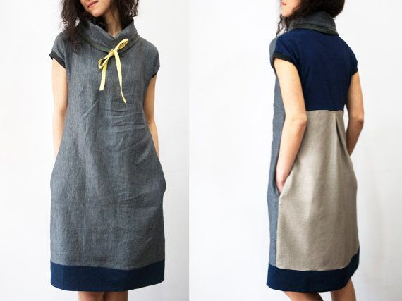 Vestido de lino túnica de lino vestido vestido de por PlatForma