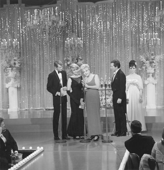 Angela Lansbury accepting her second Golden Globe for The Manchurian Candidate with ANN MARGARET & TROY DONAHUE