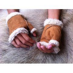 Frauen Fingerlose Lederhandschuhe