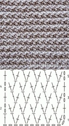 Планета Вязания   Плотный узор крючком № 4. Схема вязания узора.
