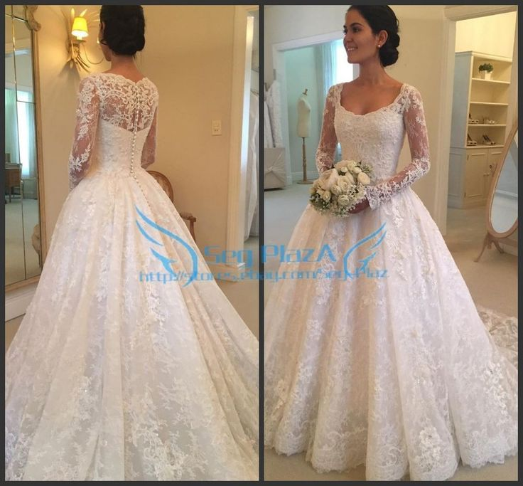 2017 Ivory/White Custom Made Long Sleeves Ball Bridal Gown Lace Wedding Dresses