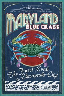 Chesapeake City, Maryland - Blue Crab Vintage Sign - Lantern Press Poster