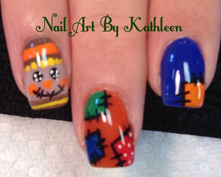 Fall Scarecrow Nail Art #nails #nailart #naildesign #fallnails #scarecrow #patches #freehand #thanksgiving #notd #nailartbykathleen