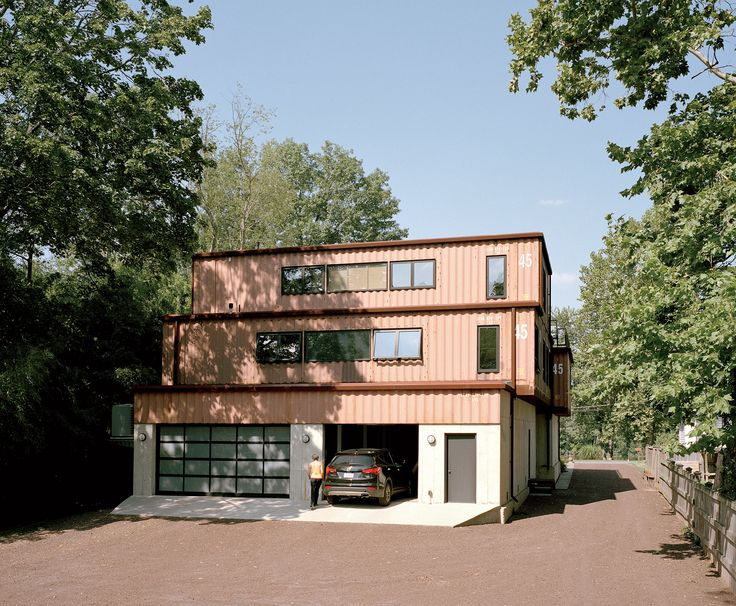 Facade And Garage Entrance Of Shipping Container Home In Pennsylvania Off  The Delaware River
