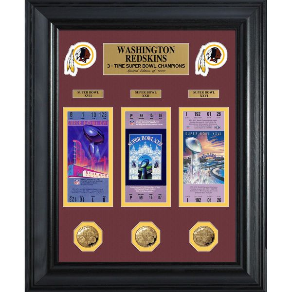 Washington Redskins Super Bowl Ticket and Game Coin Collection Framed - $149.99