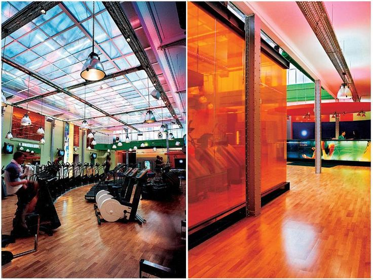 Colorful spaces and ultra modern club med gym for Gym interior design