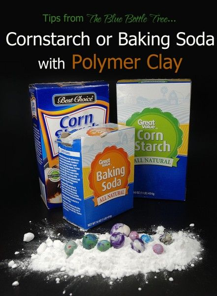 Learn about using cornstarch or baking soda with polymer clay at The Blue Bottle Tree.