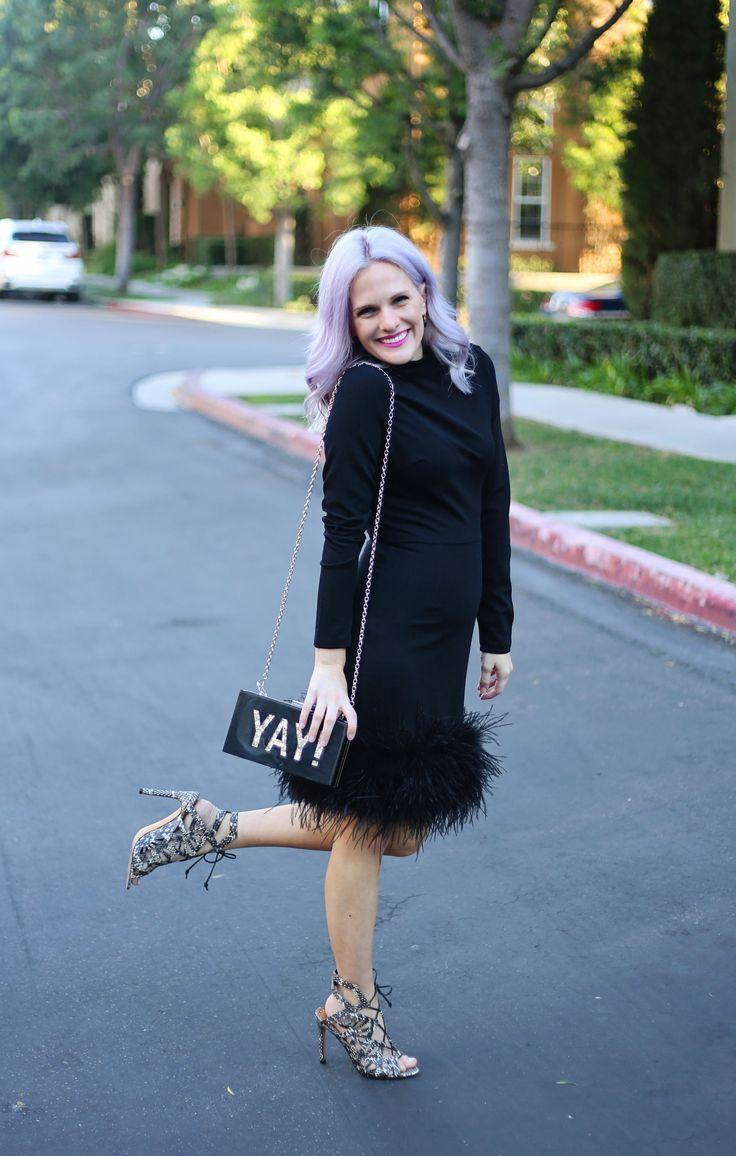 Fun Little Black Dress Lbd With Feathers Purple Lavender Hair Lace Up Heels Dress On Sale Long Sl Feminine Fall Outfits Black Long Sleeve Dress Fashion [ 1156 x 736 Pixel ]
