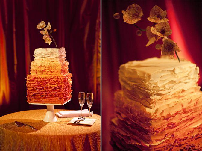 A feminine ombre bride's cake.