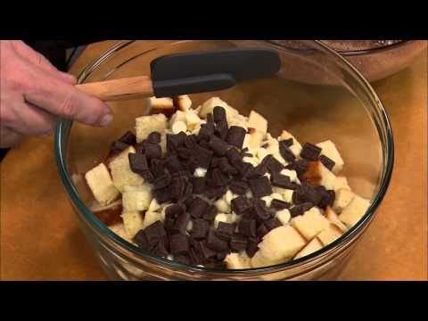 In just one minute, Chef Nick Stellino shows you how to make Chocolate Bread Pudding with two chocolates.