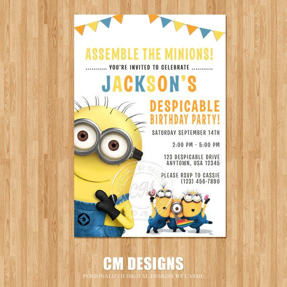 Despicable Me Birthday Invitation by DesignsbyCassieCM on Etsy, $12.99
