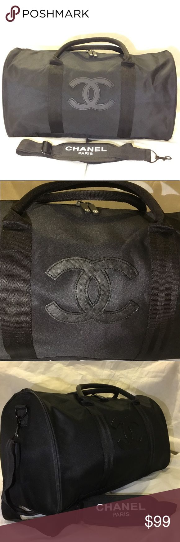 """NEW🔥 Authentic Chanel Duffel Travel Gym VIP Bag NEW ARRIVAL!   100% Authentic!  Black LOGO  Authentic Chanel Duffel,Travel Gym,Shoulder, VIP Gift Bag With Removable Strap  THIS WAS A CHANEL GIFT WITH PURCHASE NOT SOLD IN STORES  No dustbag, box, or hologram authenticity card this is Vip gift for Chanel's best customers.  Measurement(approx):  L 18 X H 12"""" X D 8"""" / 48cm x 27cm x 23cm  Condition: New , NO BOX  100% authentic CHANEL Bags Travel Bags"""