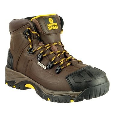 The Amblers Steel Waterproof Scuff Cap Safety Work Boots S3 are a member of the  popular Amblers Steel Toe range of safety footwear. Available in a choice of two colours FS32 (Black) & FS39 (Brown) are stylish waterproof Hiker style safety boots incorporating a steel midsole, loop lacing system and hard wearing rubber-phylon soles. They also feature rubber toes and heel guards.