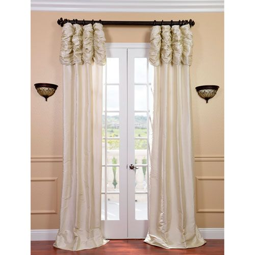 Exclusive Fabrics & Furnishings SS-SPW28-96-RU Ruched Pearl White 96 x 50 in. Thai Silk Curtain Single Panel Stationary Transitional | Bellacor