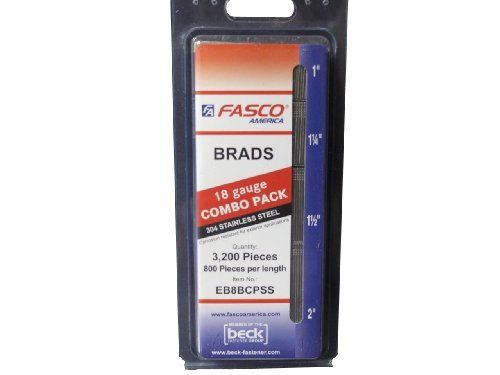 Fasco EB8BCPSS 18 Gauge Stainless Steel Brad Nail Combo Pack by Fasco. $35.99. From the Manufacturer                Fasco EB8BCPSS Brad Nail Combo Pack includes 800 1-Inch, 800 1-1/4-Inch, 800 1-1/2-Inch and 800 2-Inch brad nails. These 18 gauge brad nails are stainless steel and there is a total of 3,200 nails (800 x 4 sizes) in each package.. Save 40%!