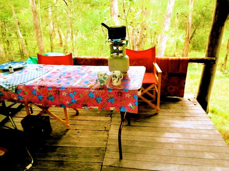 Classic camping in Australia — with Mexican oilcloth.
