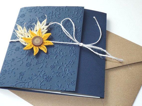 Handmade wedding invitation/Barn invitation/Sunflower invitation/ Wheat invitation/Dark blue invitation/Burlap invitation