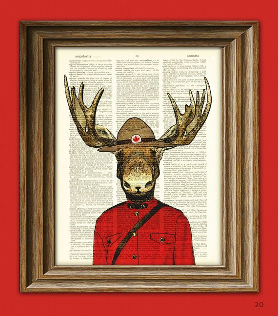Royal Canadian Mounted Moose Mountie Police Moose illustration beautifully upcycled dictionary page book art print. $7.99, via Etsy.