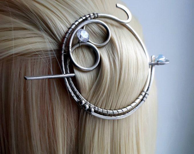 Ronde van de zilveren Celtiс haar cirkel haar dia Wire Wrapped haar vork haarspeldje omslagdoek pin sjaal pin Hair clip metaal gesp haaraccessoires