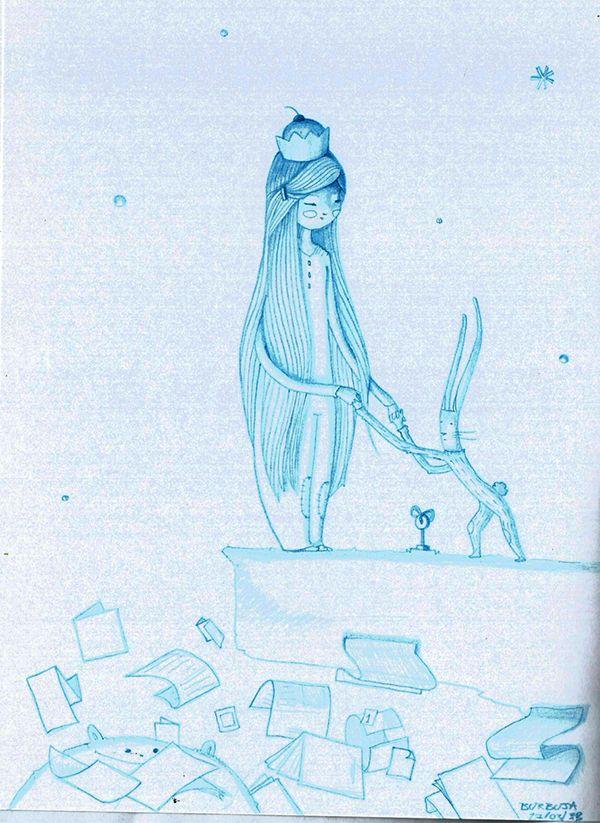 """Sueños...Escuchando """"Francisco Bochaton- Puerto amar"""". Marzo 2015. Sketchbook+lápiz azul."""
