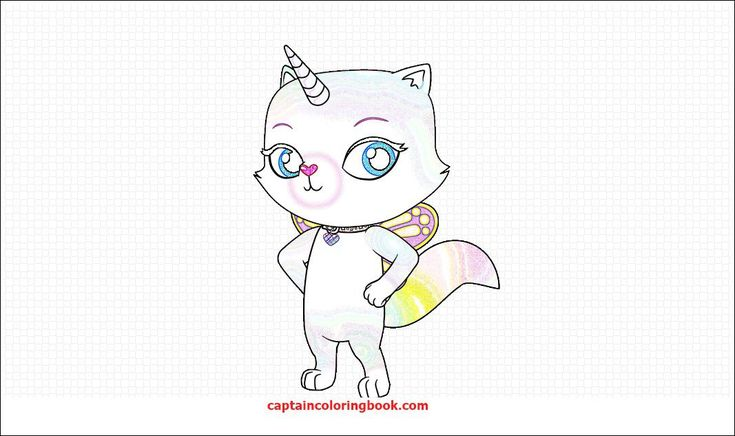 Rainbow Butterfly Unicorn Kitty Coloring Pages in 2020 ...