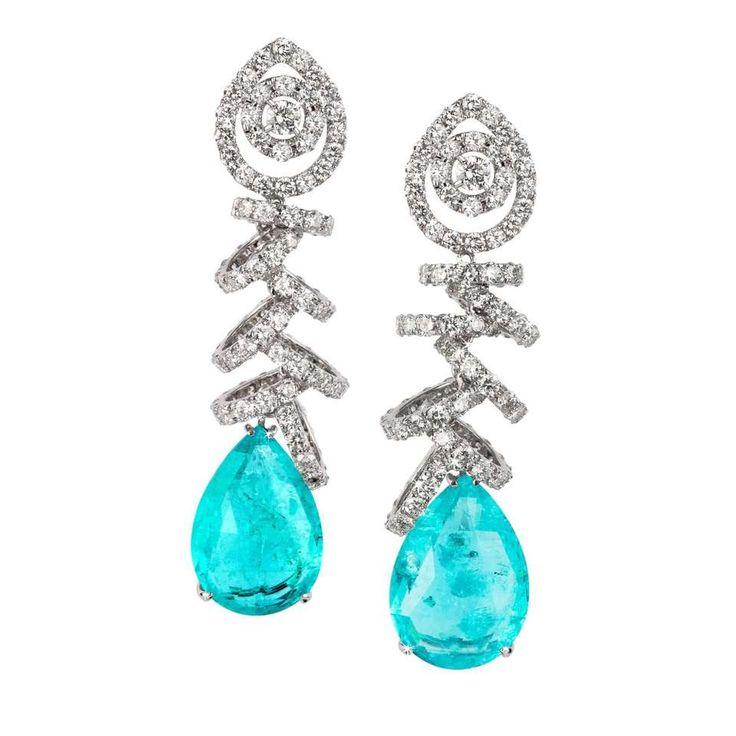 White Gold - 24.36ct Paraiba Tourmaline - 10.05ct Round Diamond Drop Earrings