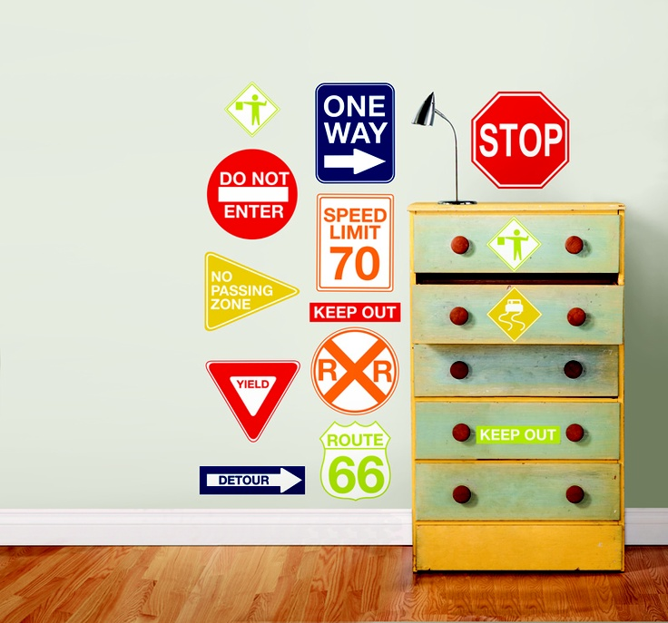 WallPops Road Signs Wall Decals  Great for a girls or boys room, or fun in playroom decor these road signs include all of the classics like route 66, stop, and one way!