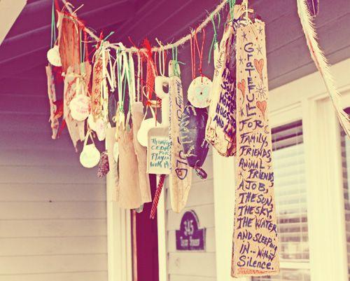 gratitude garland (this would be fun to make & hang above my altar...)