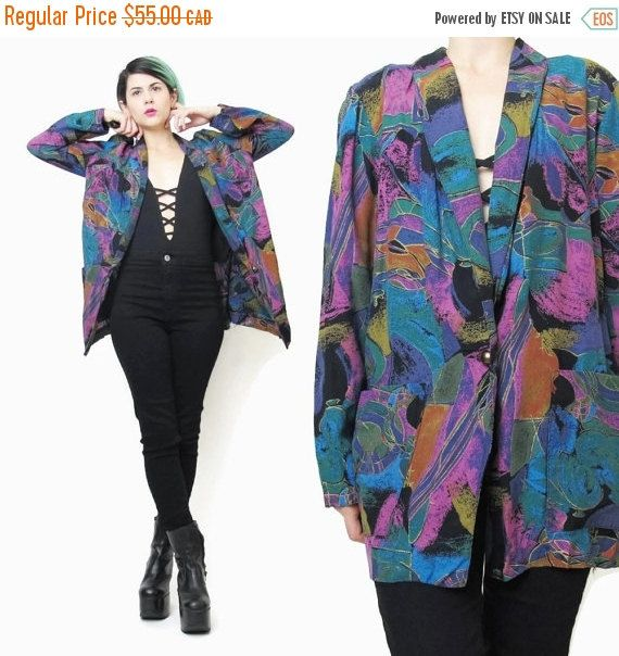 New to honeymoonmuse on Etsy: VACATION SALE 80s Colorful Blazer Abstract Print Blazer Slouchy Boyfriend Blazer Art Print Artsy Blazer Teal Purple Multicolor Blazer Womens (46.75 CAD)