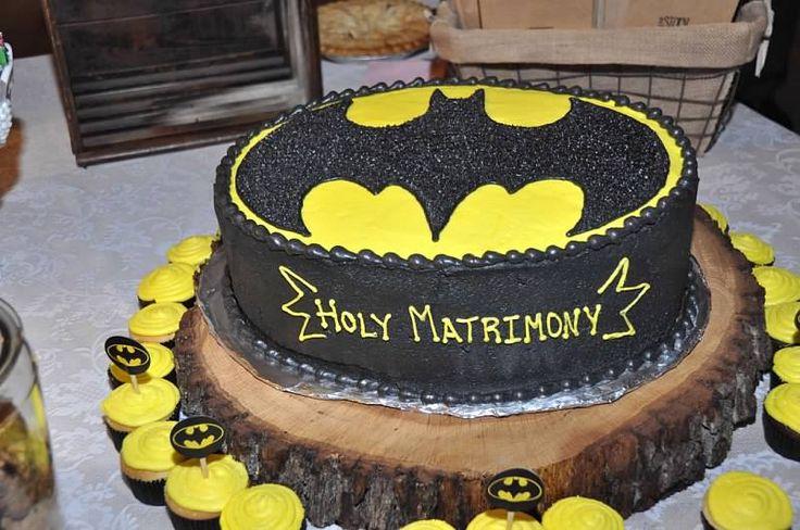 Batman grooms cake. Rustic barn reception