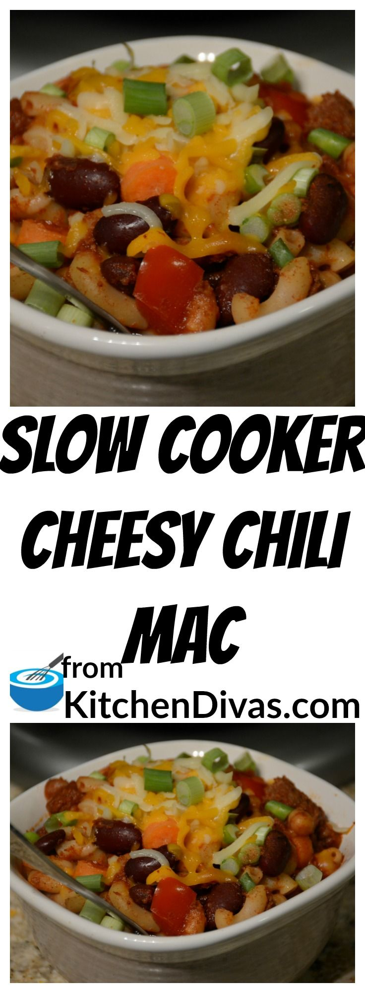 My grandmother used to put macaroni noodles in chili when we came home for lunch from grade school. She made the best lunches. I can't help but love this version of that dish now. Slow Cooker Cheesy Chili Mac totally reminds me of then! #chili #slowcooker #dinner #food #foodideas