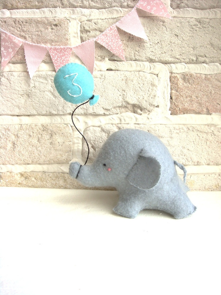 Elephant Cake Toper Felt  Birthday Decoration Baby Shower