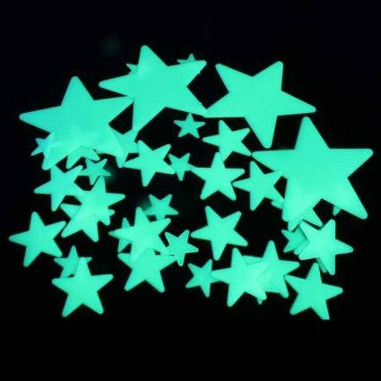 Use your old glow in the dark stars to decorate dull places. You can even use them to make letters and shapes!