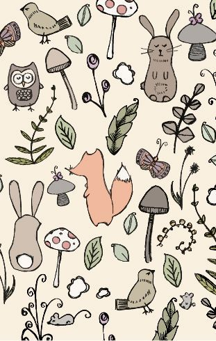 Woodland wonderland by made-by-hendo   There's nothing cuter than this woodland scene. Hand drawn bunnies, foxes and birds tiptoe through the woodland surrounded by toadstools and mice. Make sure you don't miss any of these little critters