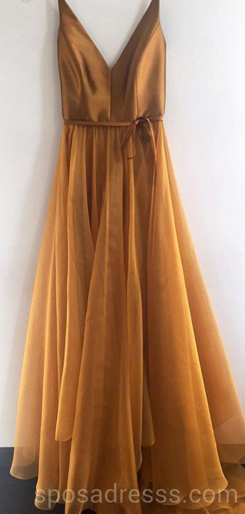 f6097930aac Simple V Neck Gold A-line Long Evening Prom Dresses