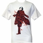 This cool Joker t-shirt is based on the latest Batman movie - The Dark Knight. In the film, Batman faces off against a new opponent, the psychopathic Joker (portrayed by Heath Ledger), whose eerie grin and unpredictable behavior make him a foe that is both frightening and thought-provoking. This shirt features the Joker literally covered in laughter: the Joker appears mostly in silhouette, covered with the word ''ha'' in a repeating pattern all over him. The background includes