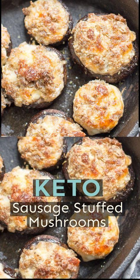 Easy Keto Gefüllte Champignons werden mit würziger Wurst und Käse für die Per …