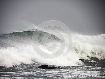 A view of strong waves and swell on a stormy day.