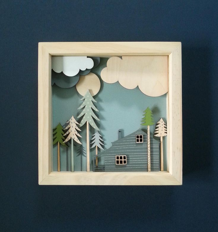 Cabin in the Woods framed wooden diorama by SadPandaPrinting on Etsy #cabininthewoods #woodencabin #woodencloud #diorama #3dpicture #firtrees #hooperhart