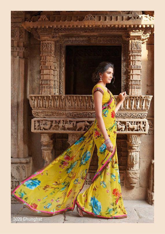 Indian Saree Sari Indian Ethnic Yello Colored Saree by Lootvila, $29.99