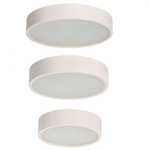 Runde Deckenleuchte - Holz - Weißeiche - Glasabdeckung - 27,5 cm Durchmesser 1x 60 Watt, 27,50 cm