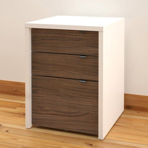 Nexera Liber-T Modular Design Your Own Storage and Entertainment System - 3 Drawer Filing Cabinet - White and Espresso | from hayneedle.com