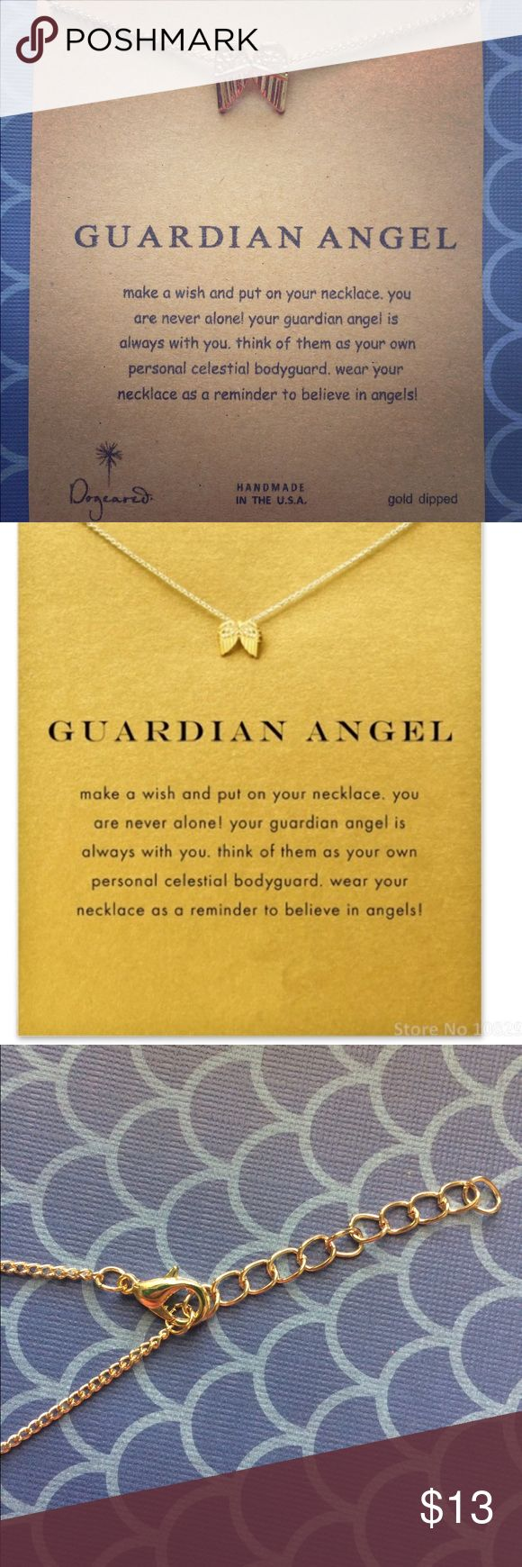 NEW Gold Dipped Guardian Angel Necklace Gorgeous new Gold Dipped, hypoallergenic guardian angel necklace. Wear this necklace as a reminder that your guardian angel is always with you. Adjustable clasp allows for different lengths of wear. Jewelry Necklaces