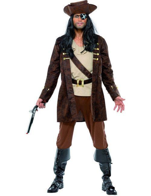 Gefürchteter Pirat Herrenkostüm braun-beige, aus unserer Kategorie Piratenkostüme. Ein grausamer Freibeuter, der sämtliche der Sieben Todsünden höchstpersönlich begangen hat - und das mehr als einmal! Er kann sich nicht einmal mehr daran erinnern, in welchem seiner zahlreichen Kämpfe er sein Auge verloren hat ... Ein fantastisches Kostüm für Karneval und Piraten Mottopartys. #Fasching