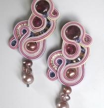 Earrings embroidered with the technique of soutache, inserts with Swarovski crystals, crystal tourmaline, agate and pink pearls