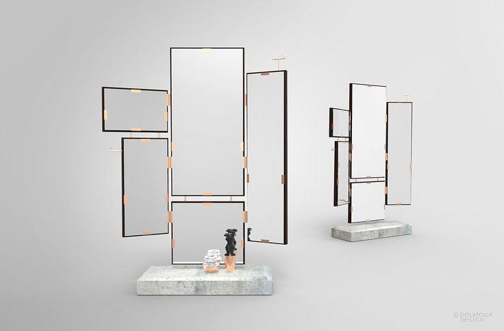 Miroir mobile béton et bois by Jimmy Delatour. Movable mirror. Concrete and wood. www.delatourdesignlab.com Furniture design, design de mobilier.