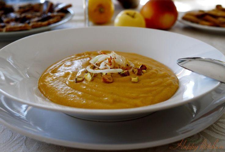 Zuppa di lenticchie rosse, cipolle e pistacchi - Ricetta e preparazione: cucina salutare e vegetariana - Tony's Happy Kitchen