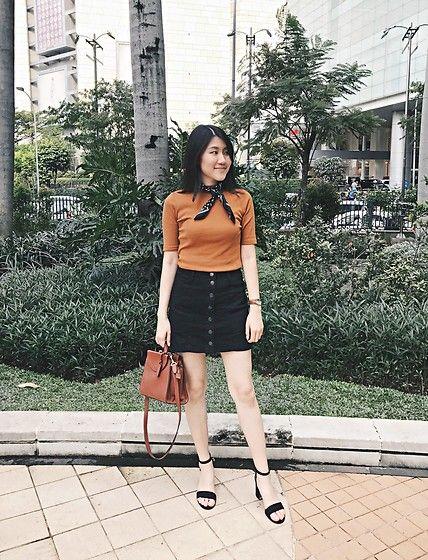 Get this look: http://lb.nu/look/8672555  More looks by Beatrix Rhea: http://lb.nu/beatrixrhea  Items in this look:  Uniqlo High Neck Top, Stradivarius A Line Denim Skirt, Bershka Ankle Strap Heels   #chic #minimal #street #streetstyle #denim #casual