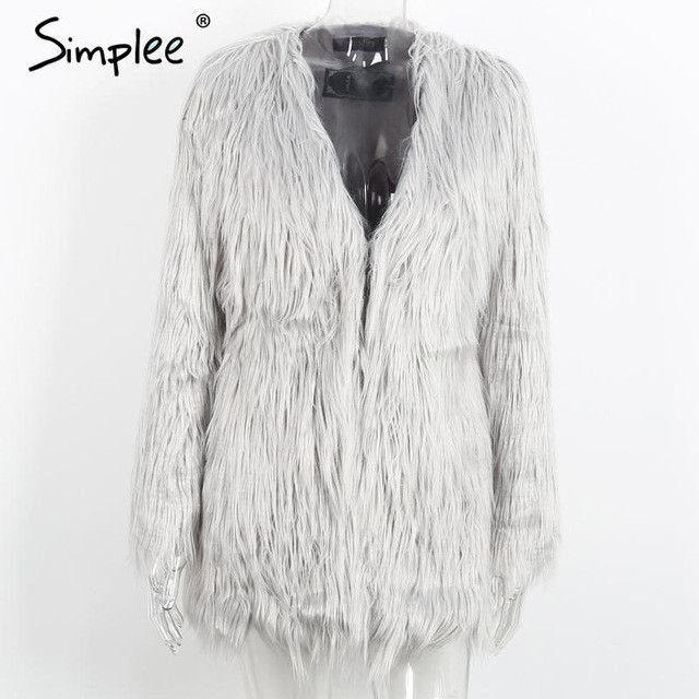 Simplee Elegant faux fur coat women Fluffy warm long sleeve female outerwear Black chic autumn winter coat jacket hairy overcoat