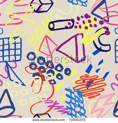 Abstract vector hand-drawn pattern in memphis style. Trendy modern design for banners, flyers, covers, presentations, brochure, poster, party, textile,card, print, wear. Colorful geometric background.
